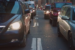 accident in traffic queue